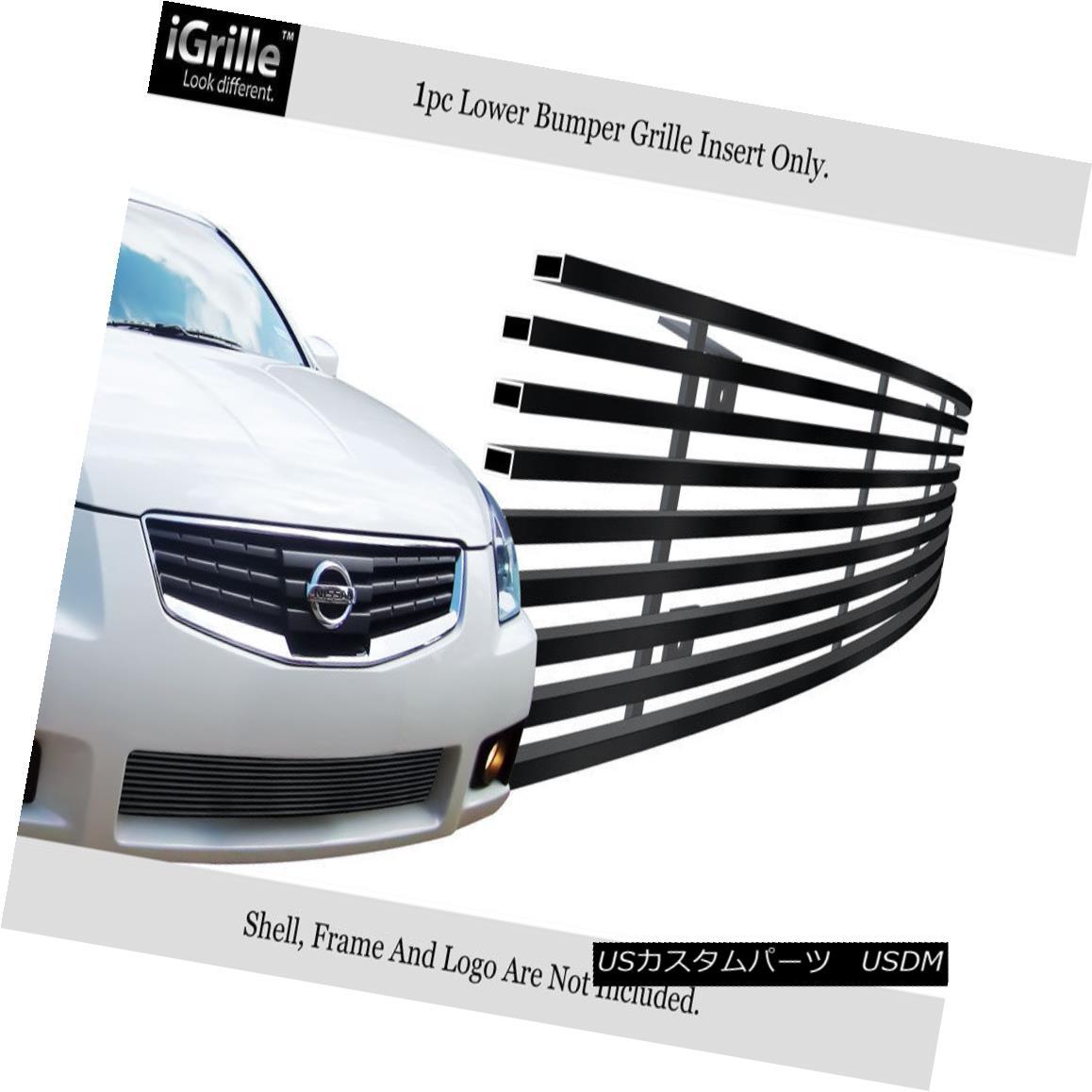 グリル For 2007-2008 Nissan Maxima Stainless Steel Black Bumper Billet Grille Insert 日産マキシマステンレススチールブラックバンパービレットグリルインサート