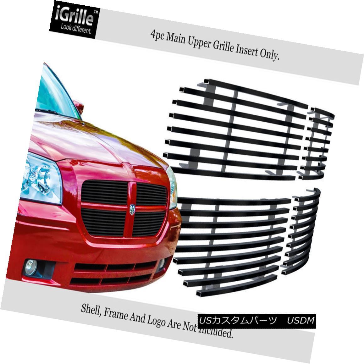 グリル Fits 2005-2007 Dodge Magnum Except SRT8 Stainless Steel Black Billet Grille SRT8ステンレススチールブラックビレットグリルを除く2005年?2007年のDodge Magnumに適合
