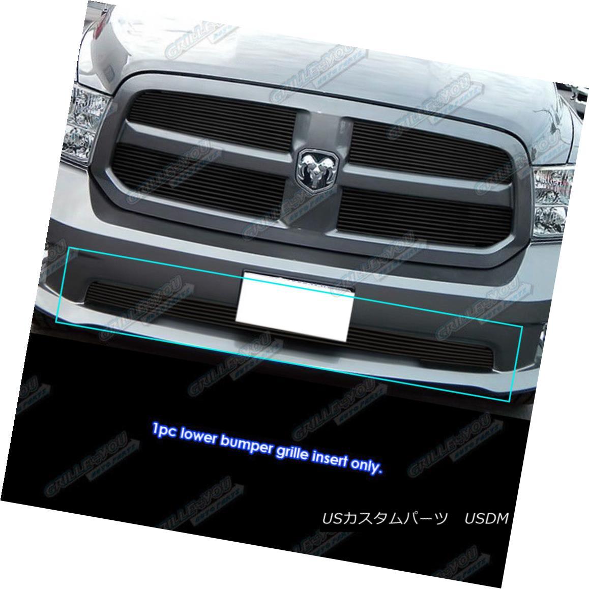 グリル Fits 2012-2017 Ram 1500 Express Model Black Bumper Billet Grille Insert フィット2012-2017ラム1500エクスプレスモデルブラックバンパービレットグリルインサート