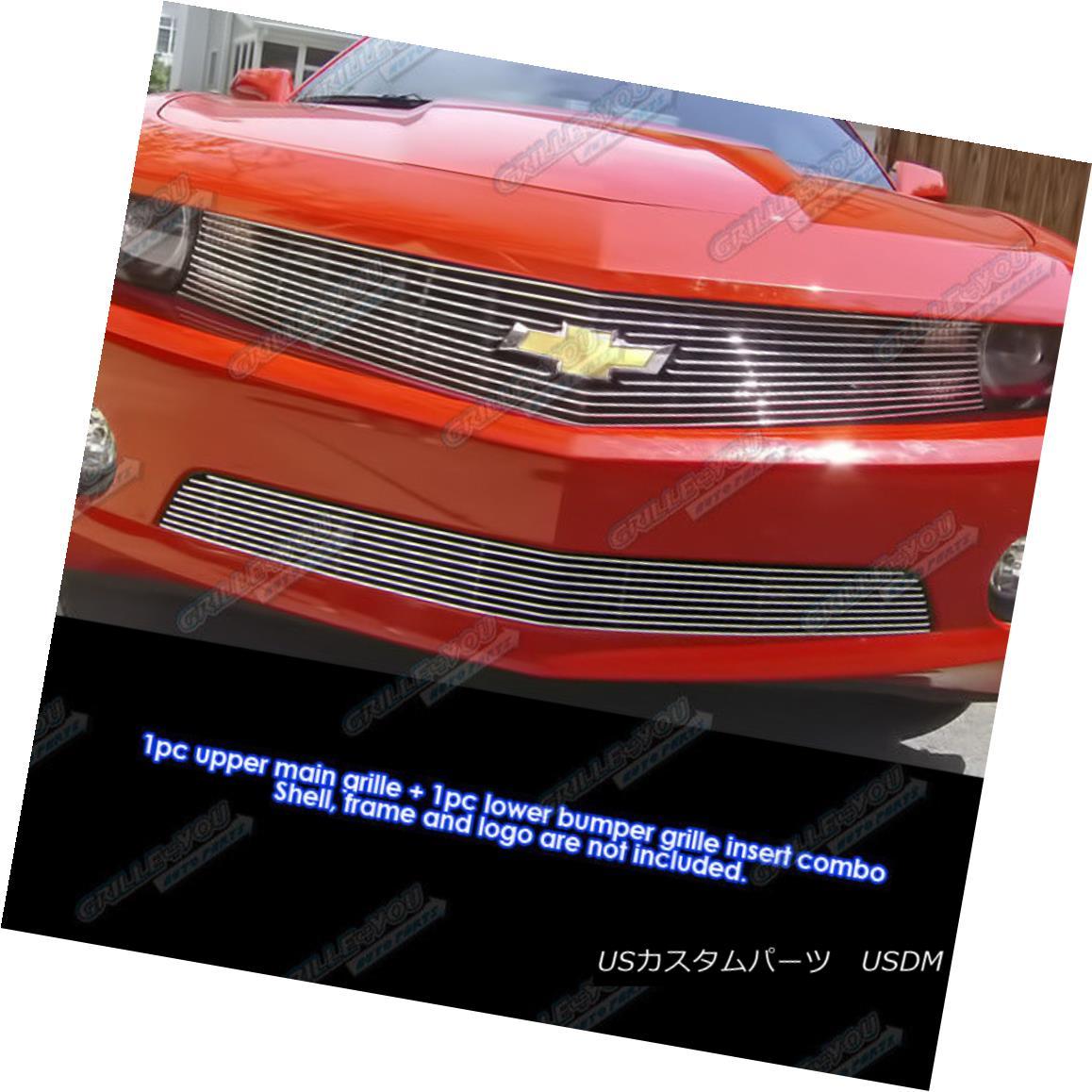 グリル Fits 2010-2013 Chevy Camaro LT/LS V6 Billet Grille Grill Logo Show Combo Insert フィット2010-2013シボレーカマロLT / LS V6ビレットグリルグリルロゴショーコンボインサート