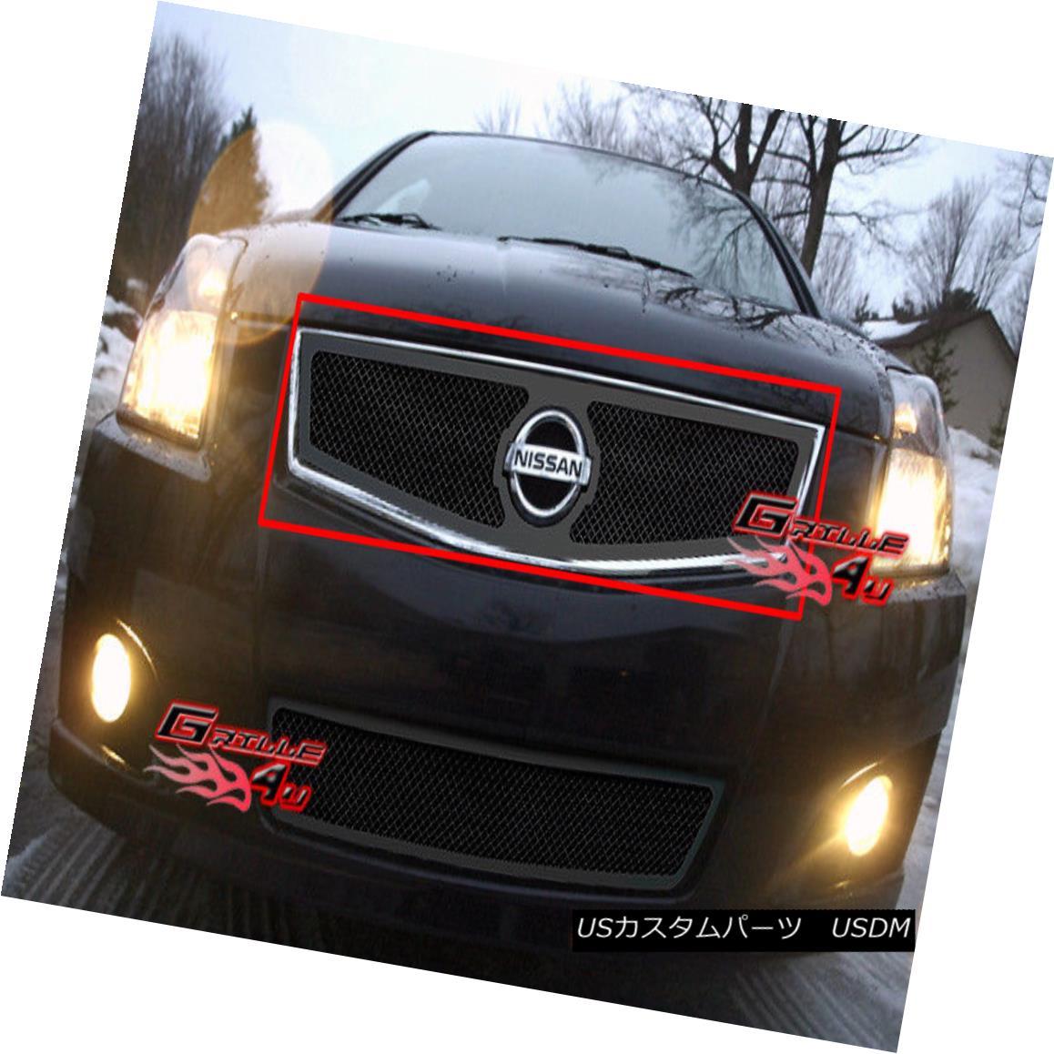 グリル Fits 07-10 Nissan Sentra Black Mesh Grille Insert 07-10日産セントラブラックメッシュグリルインサート