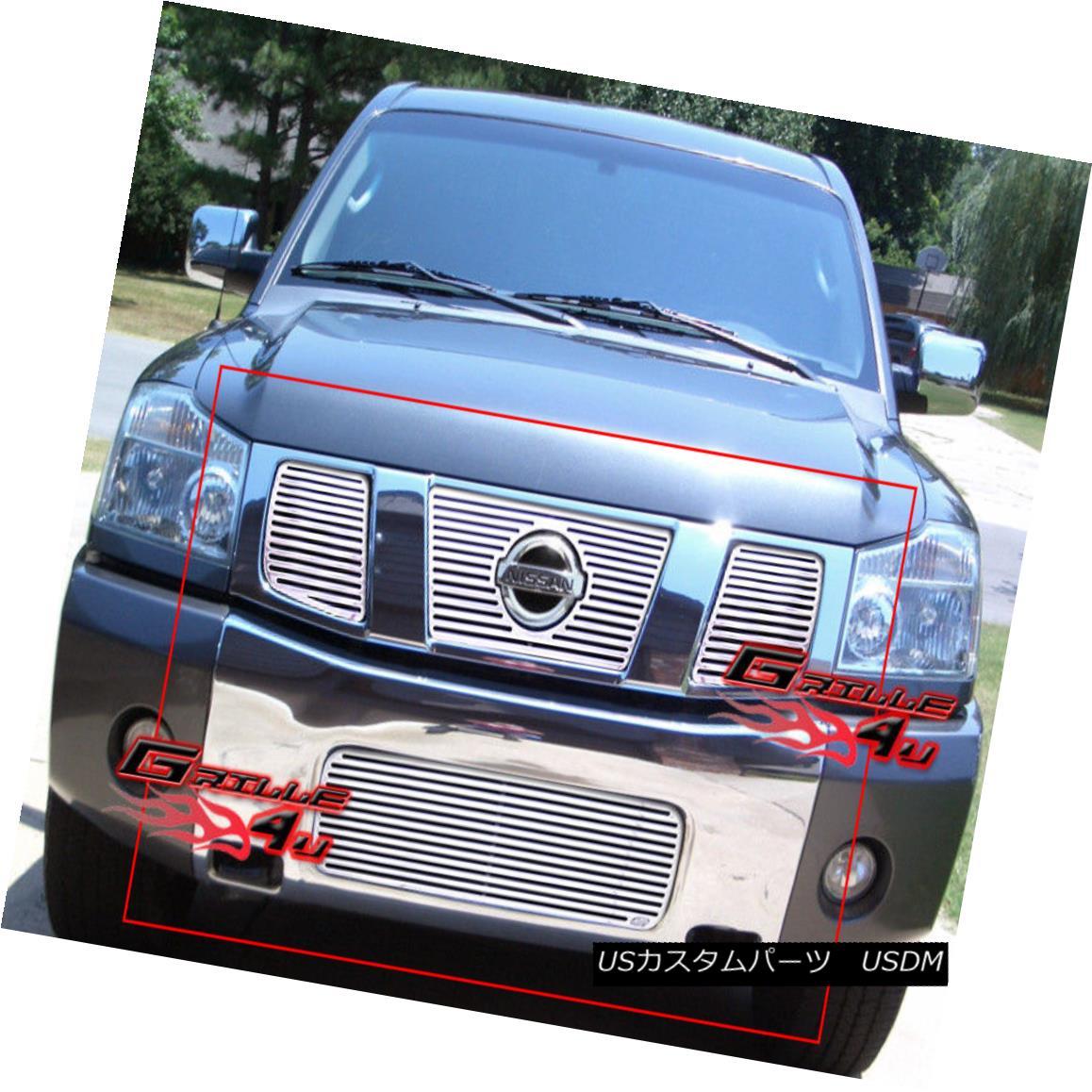 グリル Fits 2004-2007 Nissan Titan/Armada Perimeter Billet Grille Combo フィット2004-2007日産タイタン/陸軍ペリメータービレットグリルコンボ