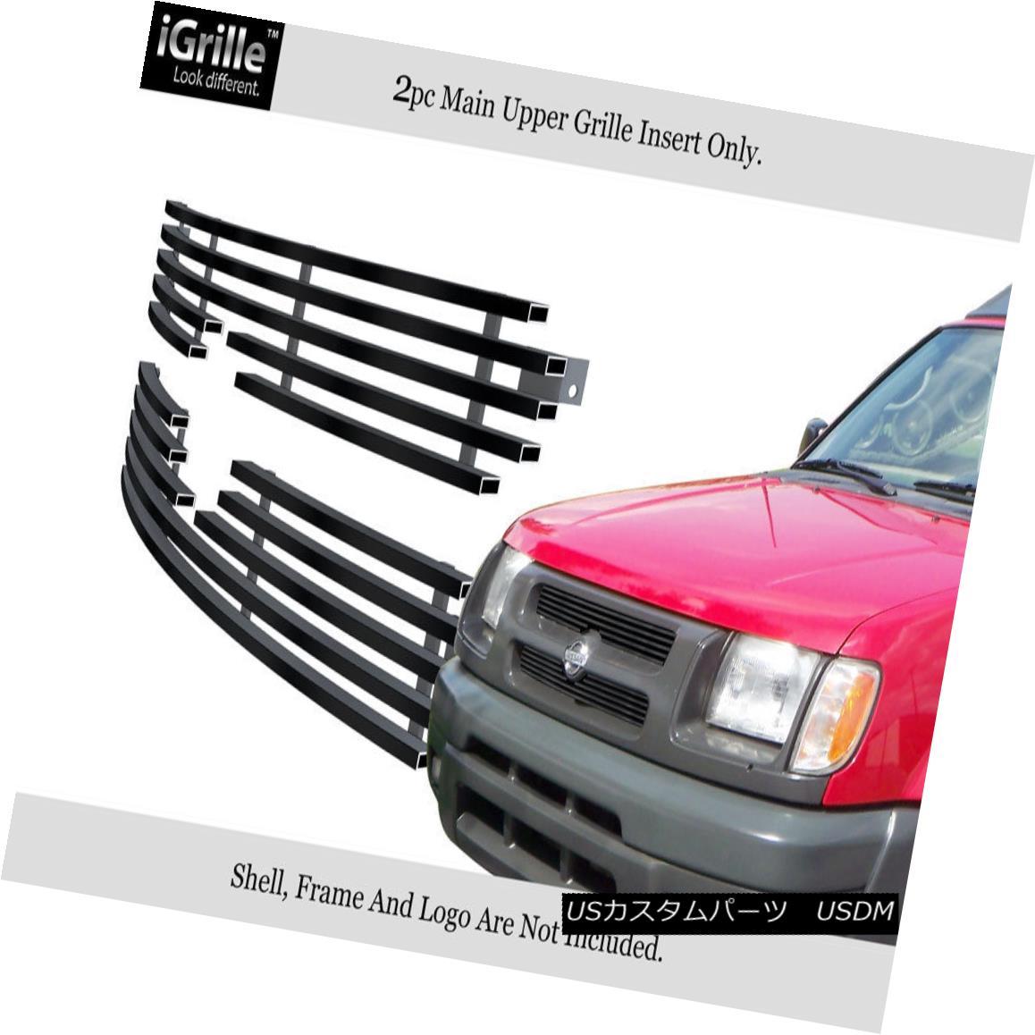 グリル Fits 00-01 Nissan Xterra Black Stainless Steel Billet Grille Insert フィット00-01日産エクステラブラックステンレス鋼ビレットグリルインサート