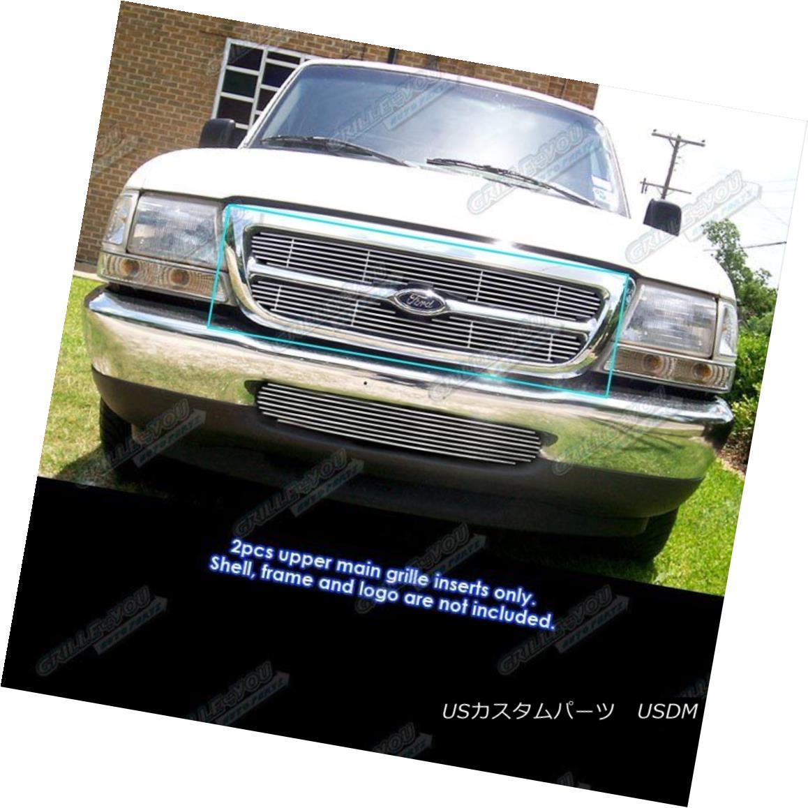 グリル Fits 98-2000 Ford Ranger Main Upper Billet Grille Insert フィット98-2000フォードレンジャーメインアッパービレットグリルインサート