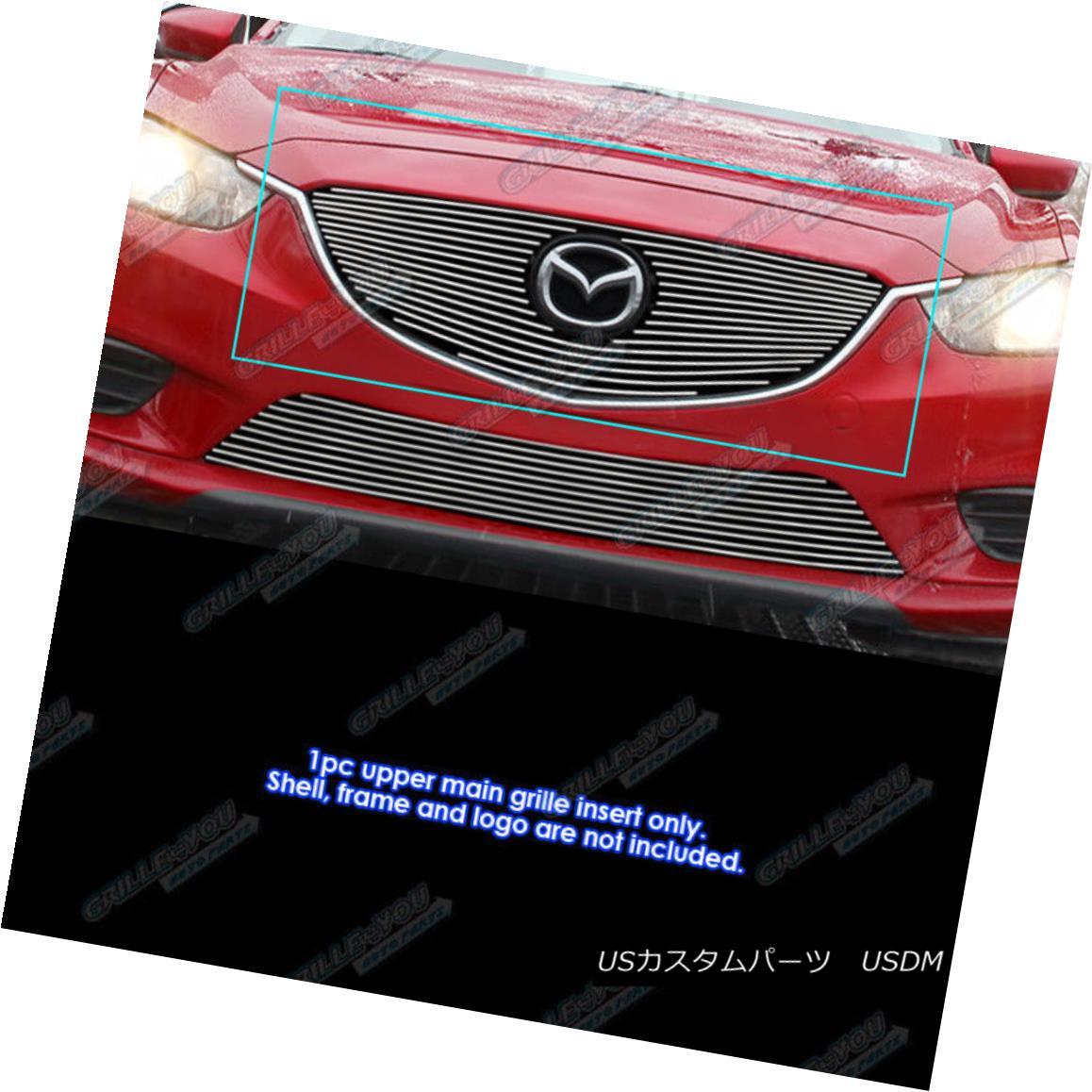 グリル Fits 2014-2016 Mazda 6 Aluminum Main Upper Billet Grille Insert フィット2014-2016マツダ6アルミメインアッパービレットグリルインサート