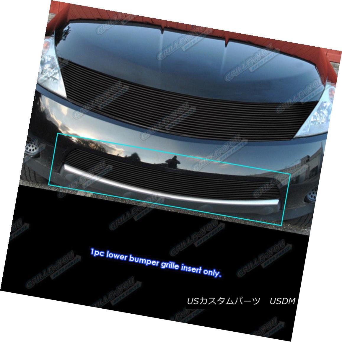 グリル Fits 2003-2008 Nissan Murano Black Bumper Billet Grille Grill Insert フィット2003-2008日産ムラーノブラックバンパービレットグリルグリルインサート