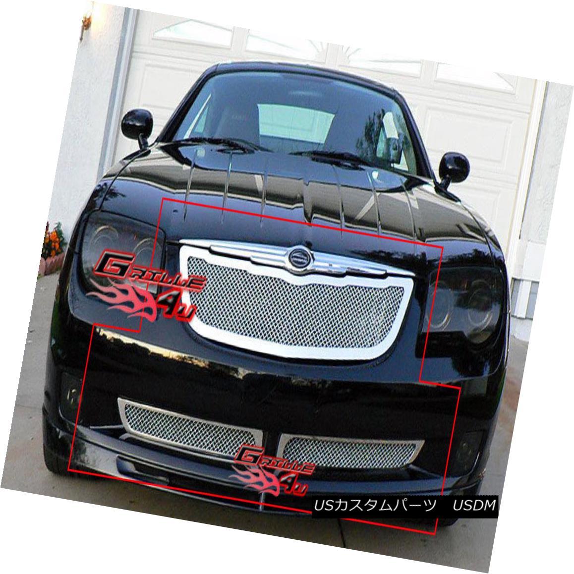 グリル Fits 2004-2008 Chrysler Crossfire Stainless Mesh Grille Combo フィット2004-2008クライスラークロスファイアステンレスメッシュグリルコンボ