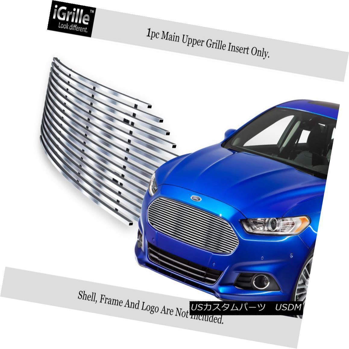 グリル Fits 2013-2016 Ford Fusion Upper Stainless Steel Billet Grille Insert フィット2013-2016フォードフュージョンアッパーステンレス鋼ビレットグリルインサート
