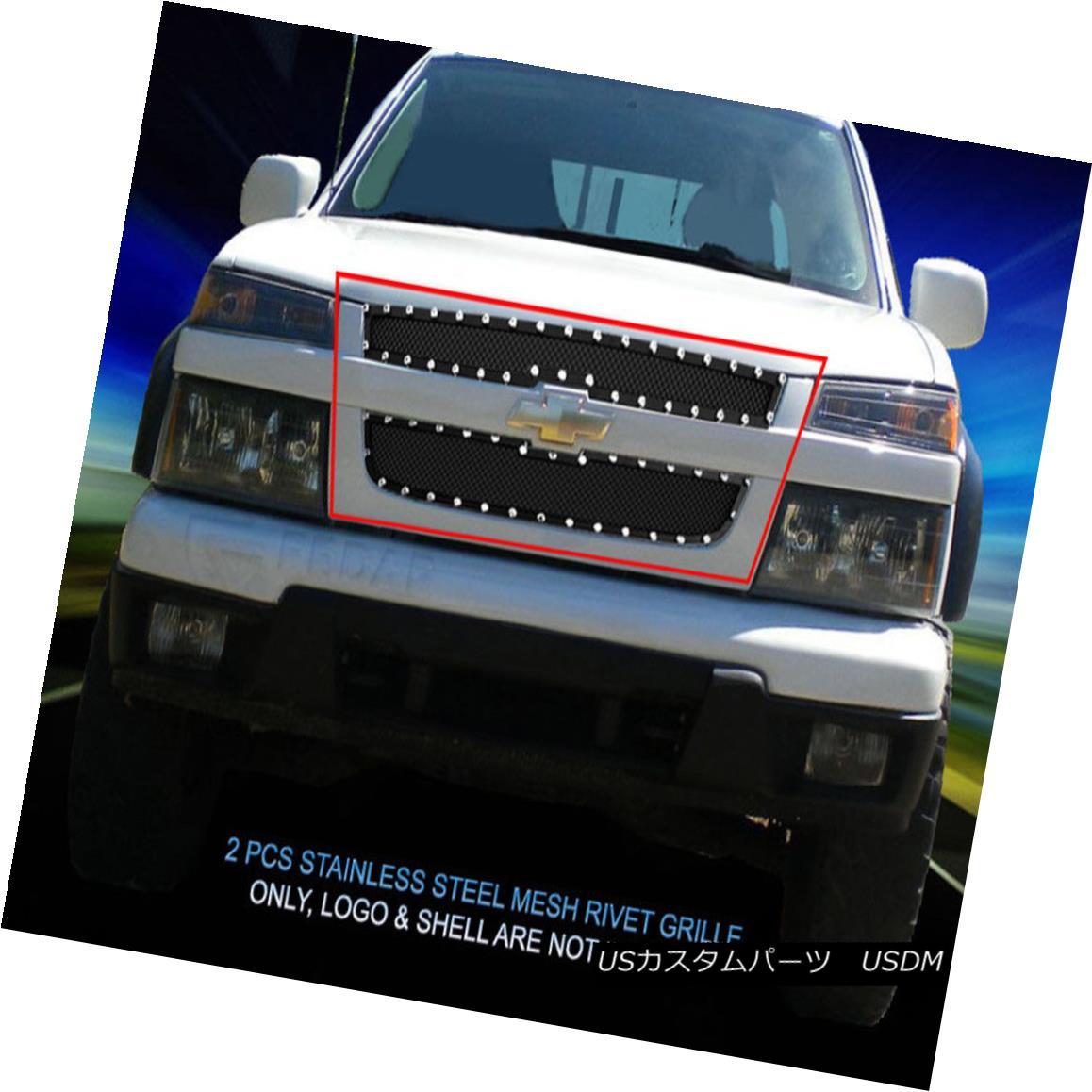 グリル Fits 2004-2012 Chevrolet Colorado Stainless Black Rivet Mesh Grille Insert Fedar フィット2004年から2012年シボレーコロラドステンレスブラックリベットメッシュグリルインサートFedar