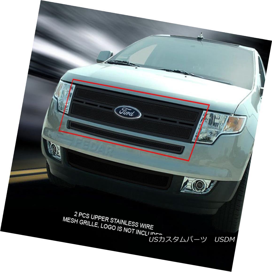 グリル Fedar Fits 2007-2010 Ford Edge Full Black Replacement Formed Mesh Grille Insert Fedar 2007-2010 Ford Edgeフルブラック交換メッシュグリルインサート