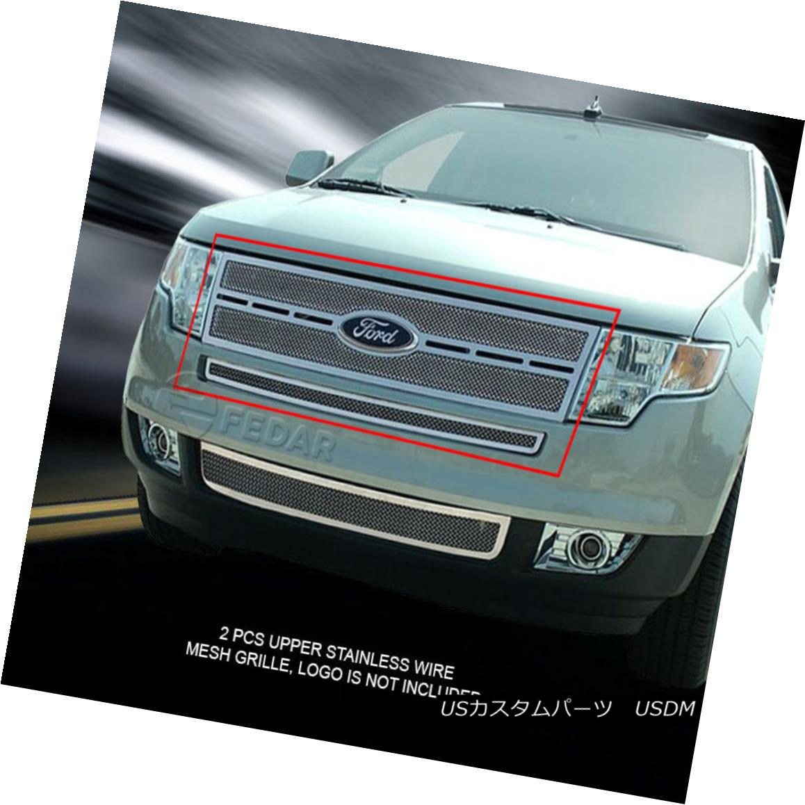 グリル Fedar Fits 2007-2010 Ford Edge Polished Replacement Formed Mesh Grille Insert Fedarは2007?2010年のFord Edge研磨済み交換メッシュグリルインサートを採用