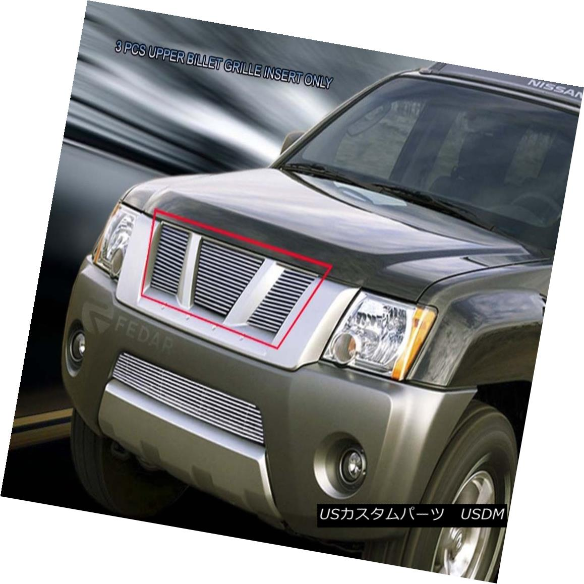 グリル For 2005-2008 Nissan Xterra Blot-On Billet Grille Upper Grill Insert Fedar 2005-2008日産のXterra Bolt-OnビレットグリルアッパーグリルインサートFedar