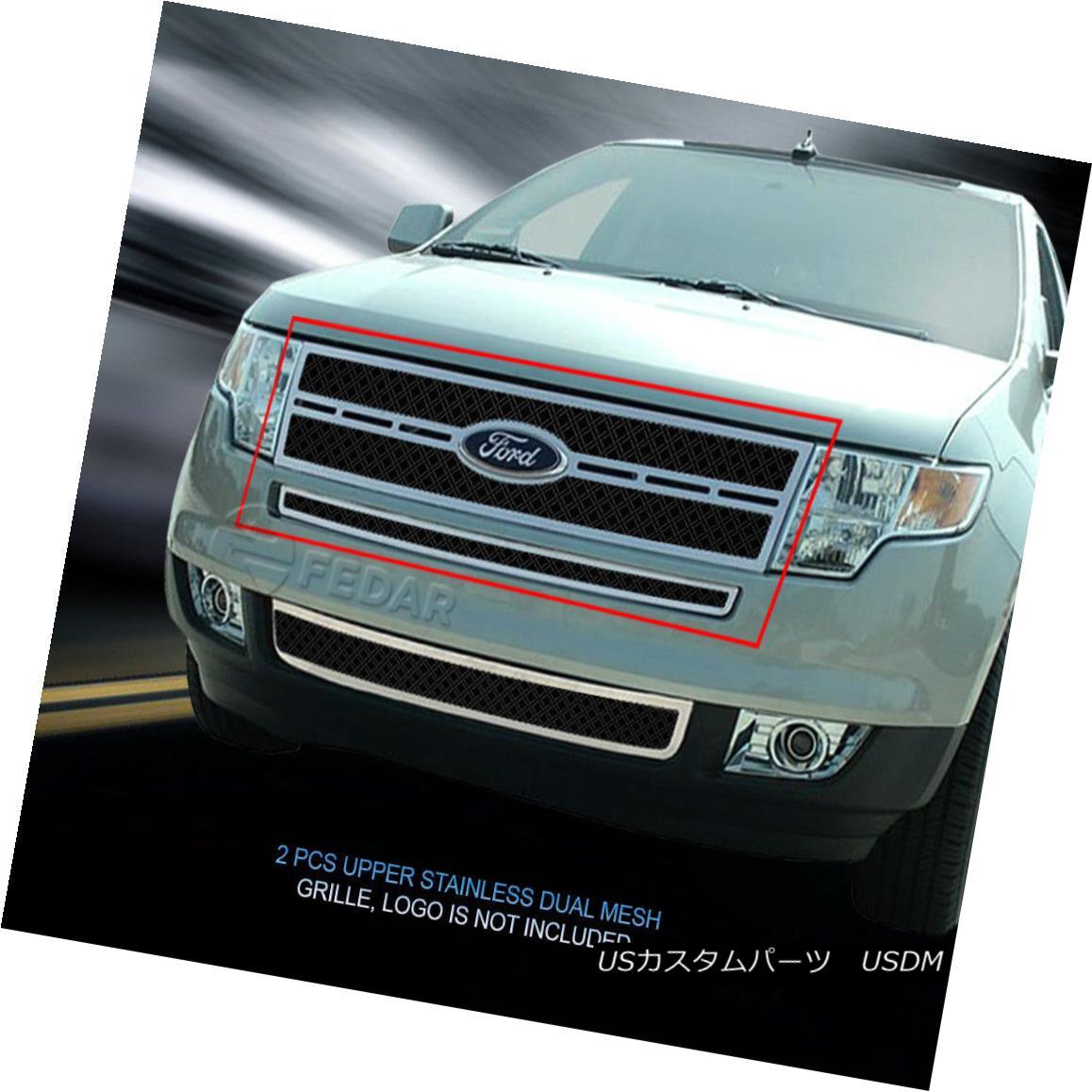グリル Fedar Fits 2007-2010 Ford Edge Black/Polished Dual Weave Mesh Grille Insert Fedarは2007-2010 Ford Edge Black / Polishedデュアルウィーブメッシュグリルインサート
