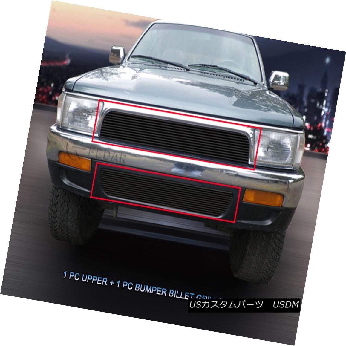 グリル 92-95 Toyota 4Runner Black Billet Grille Grill Combo Insert 2 Pcs Fedar 92-95トヨタ4Runnerブラックビレットグリルグリルコンボインサート2個入りFedar