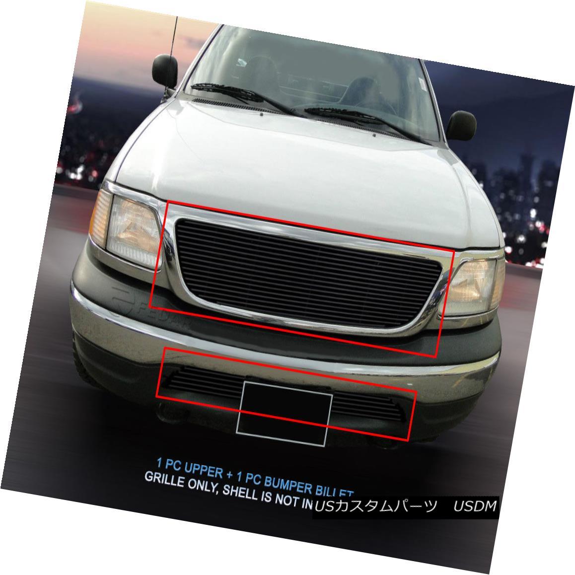 グリル 99-03 Ford F-150 F150 Black Billet Grille Grill Combo Insert 2 Bar Style Fedar 99-03フォードF-150 F150ブラックビレットグリルグリルコンボインサート2バースタイルFedar