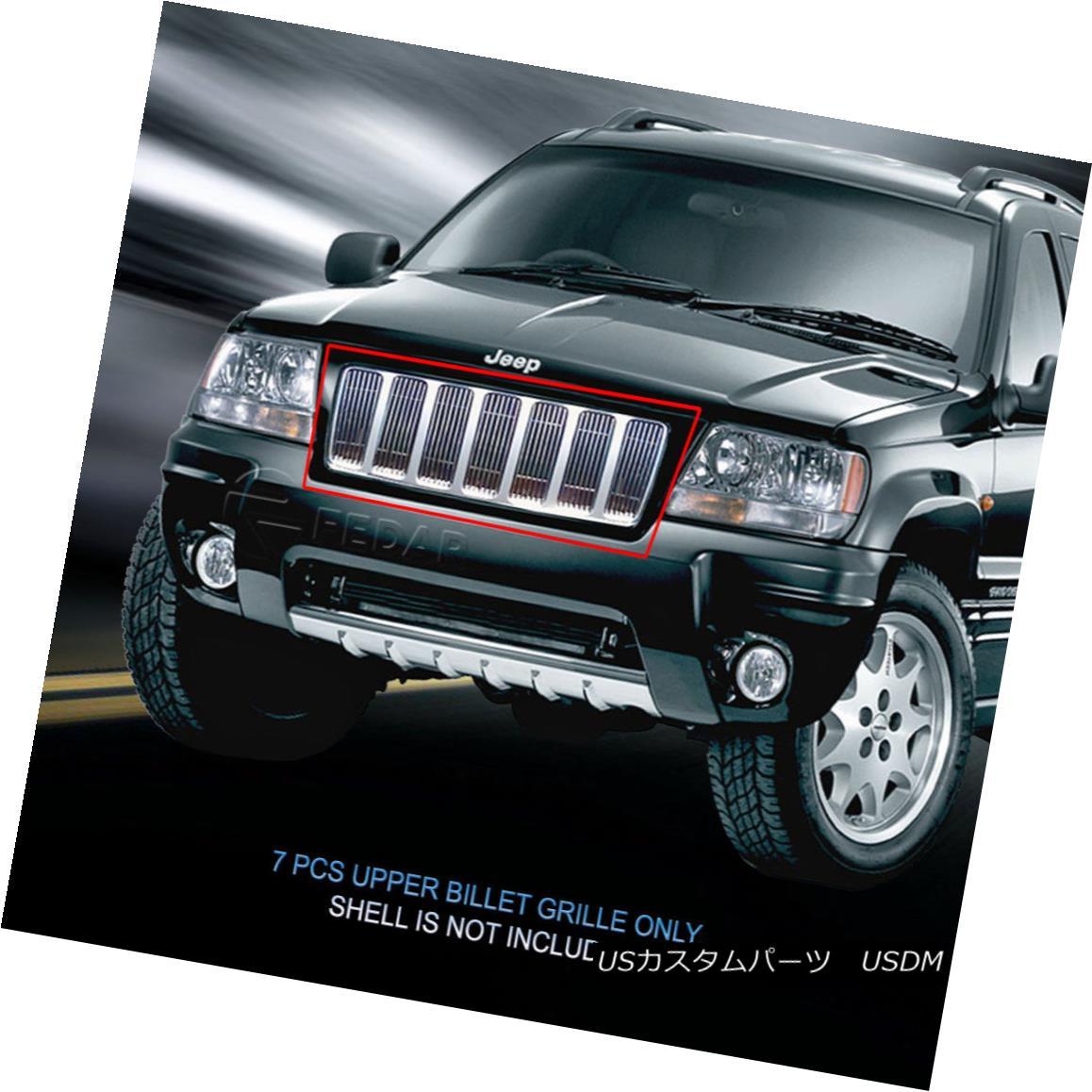 グリル Fedar Fits 1999-2004 Jeep Grand Cherokee Polished Billet Grille Insert Fedarは1999-2004ジープグランドチェロキーポリッシュビレットグリルインサートに適合