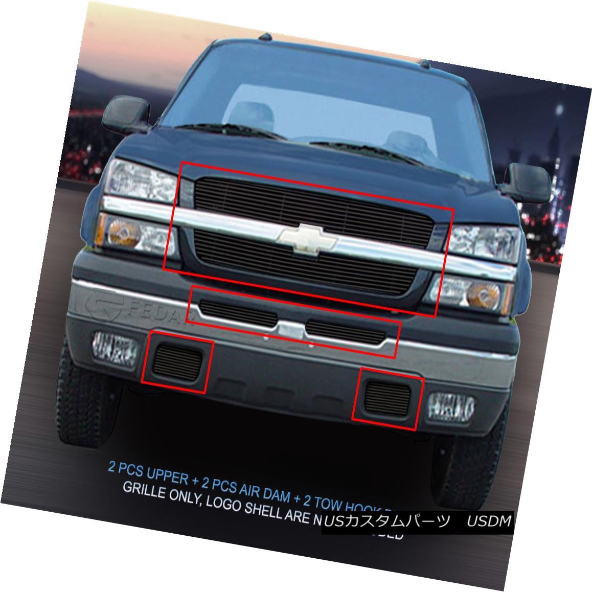 グリル Fits 2003-2004 Chevy Silverado 1500/2500/1500HD/3500 Black Billet Grille 2003-2004 Chevy Silverado 1500/2500/1500 HD / 3500 Black Billet Grilleに適合