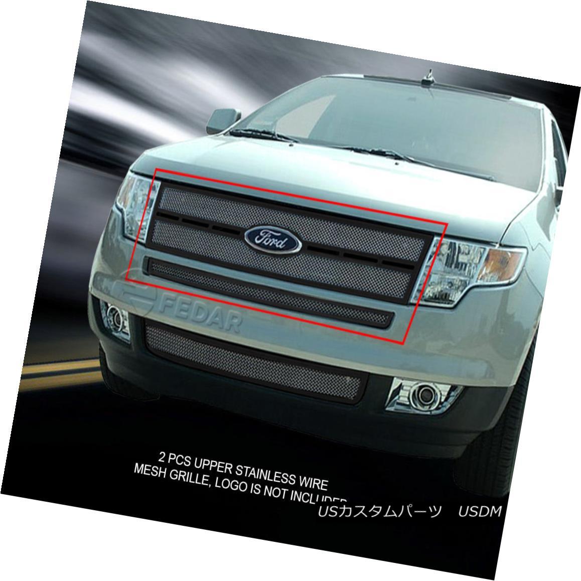 グリル For 07-10 Ford Edge Stainless Black Frame White Mesh Grille Combo Insert Fedar 07-10フォードエッジステンレスブラックフレームホワイトメッシュグリルコンボインサートフェルダ