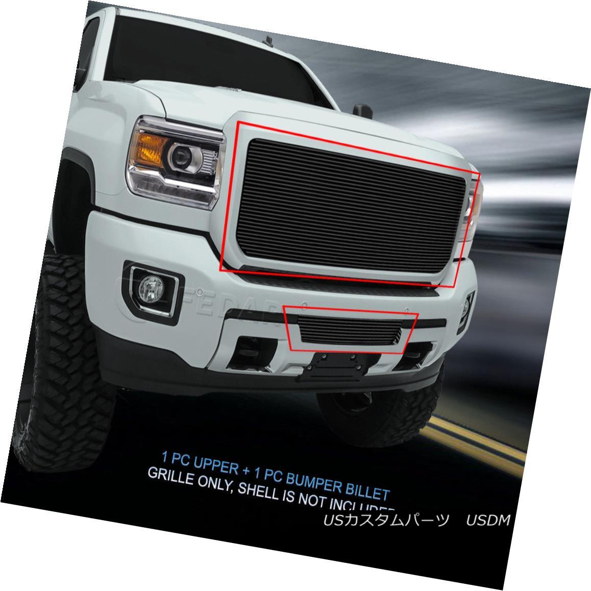 グリル Fedar Fits 2015-2017 GMC Sierra 2500HD/3500HD Black Billet Grille Combo Insert Fedarフィット2015-2017 GMC Sierra 2500HD / 3500HDブラックビレットグリルコンボインサート
