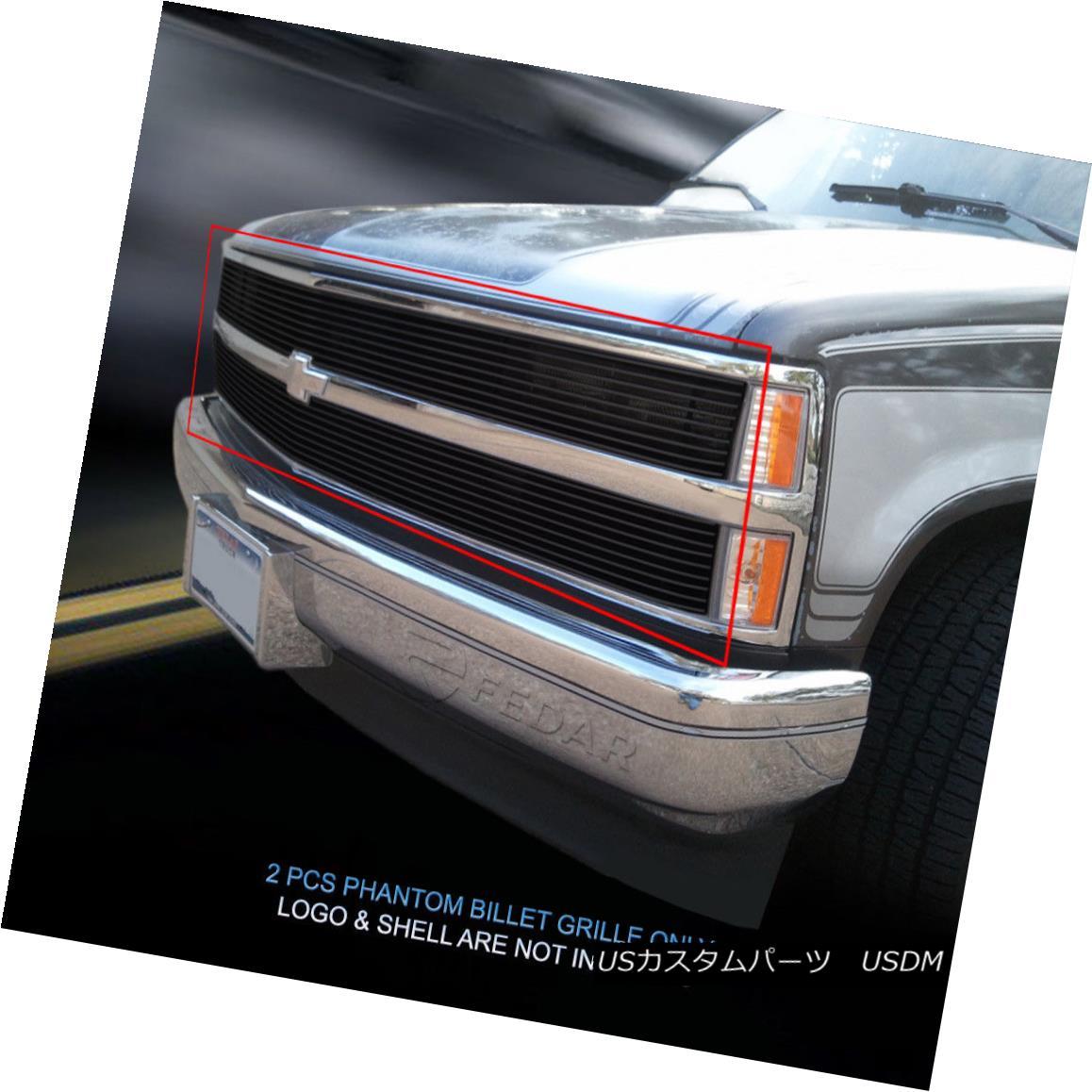グリル Fit 1988-1993 Chevy C/K Pickup Suburban/Tahoe/Blazer Black Billet Grille Phantom Fit 1988-1993 Chevy C / K Pickup郊外/タホ/ Blazer Black Billet Grille Phantom