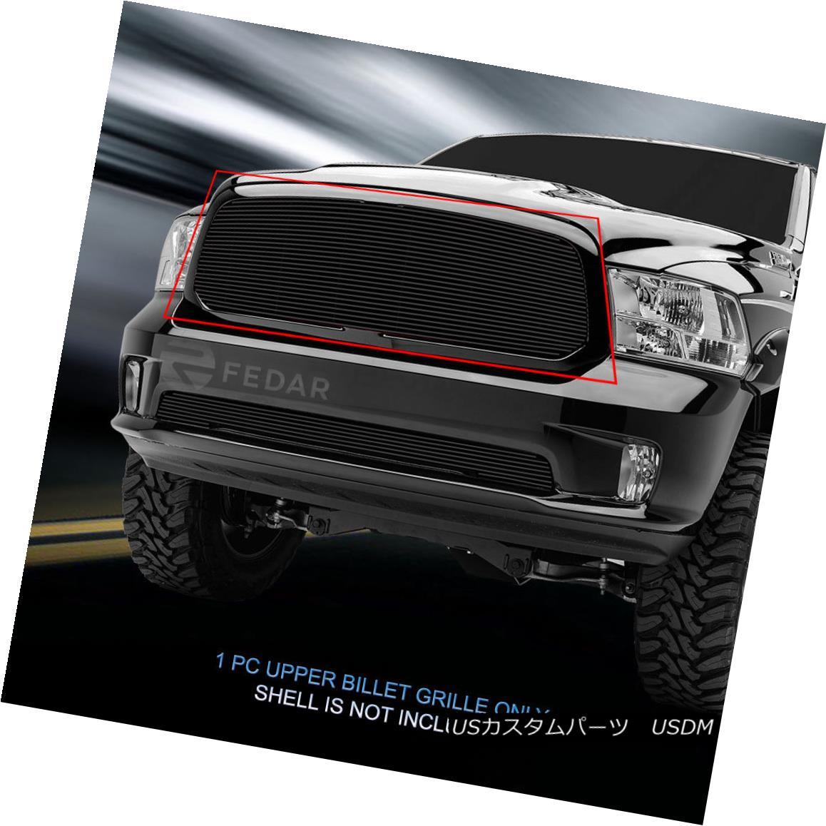 グリル Fits 2013-2017 Dodge Ram 1500 Black Billet Grille Upper Grill Insert Fedar フィット2013-2017ダッジラム1500ブラックビレットグリルアッパーグリルインサートFedar