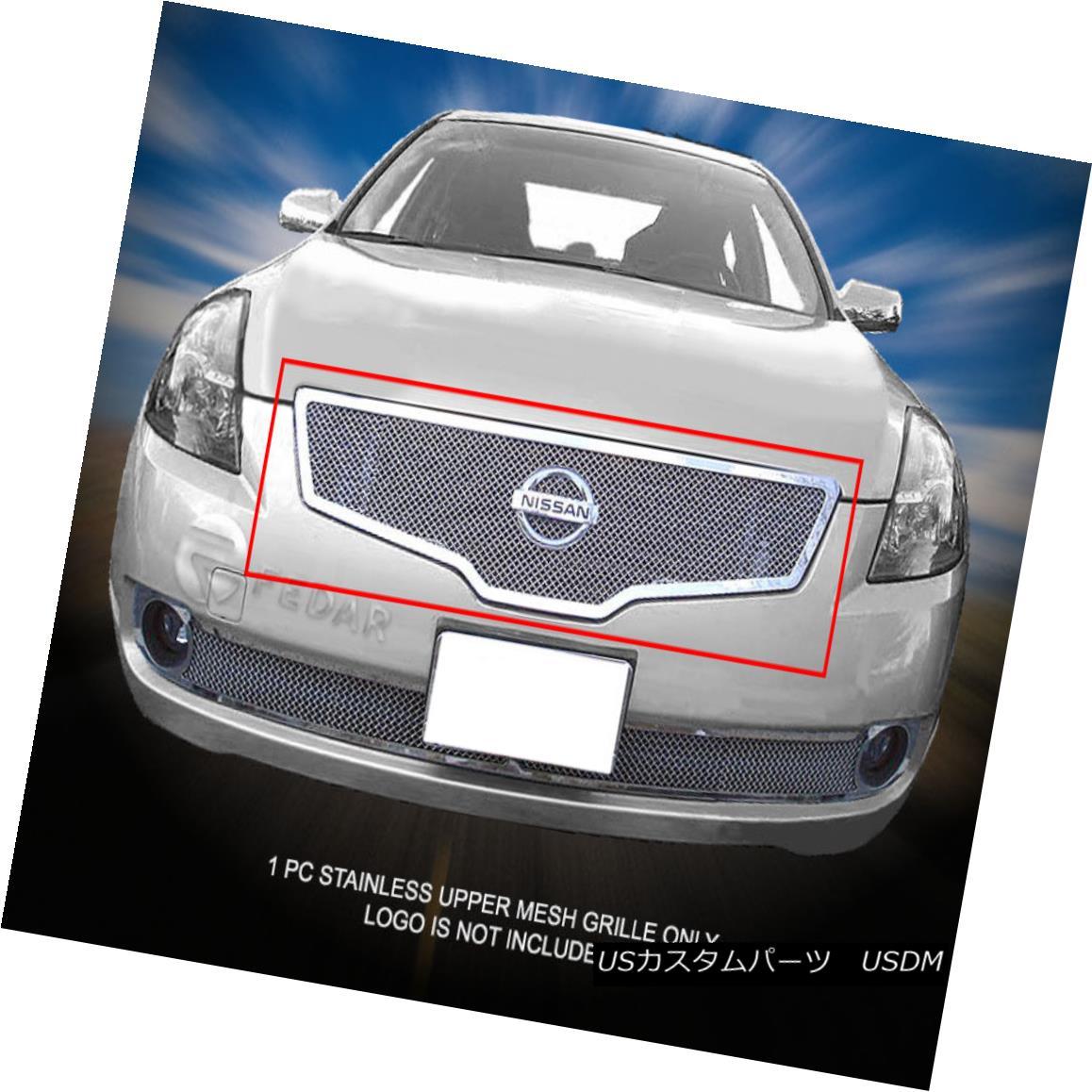 グリル For 07-09 Nissan Altima Sedan Stainless Steel Mesh Grille Upper Insert Fedar 07-09日産アルティマセダンステンレスメッシュグリルアッパーインサートフェルダー