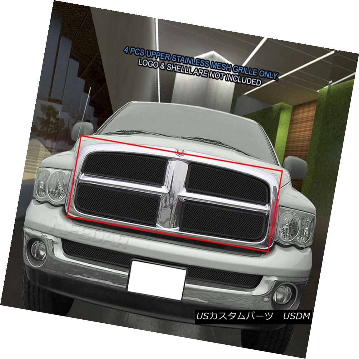 グリル For 02-05 Dodge Ram 1500 2500 3500 Black Stainless Mesh Grille Upper 4 Pcs Fedar 02-05 Dodge Ram用1500 2500 3500ブラックステンレスメッシュグリルアッパー4個入りFedar