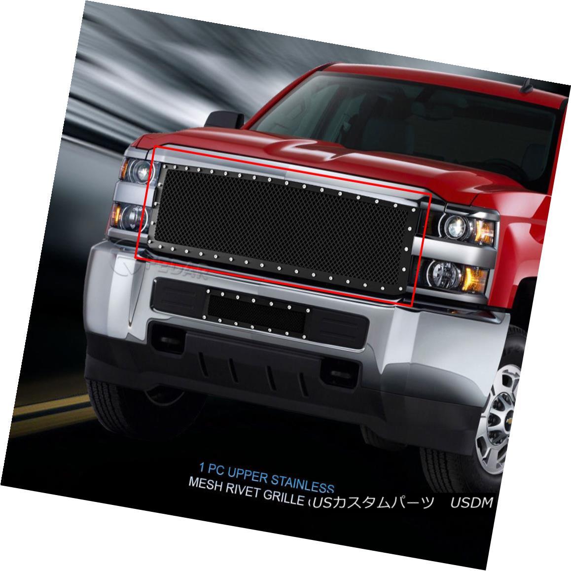 グリル Fits 15-16 Chevy Silverado Bumper Rivet Black Stainless Steel Mesh Grille Fedar フィット15-16シボレーシルバラードバンパーリベットブラックステンレスメッシュグリルフェザー