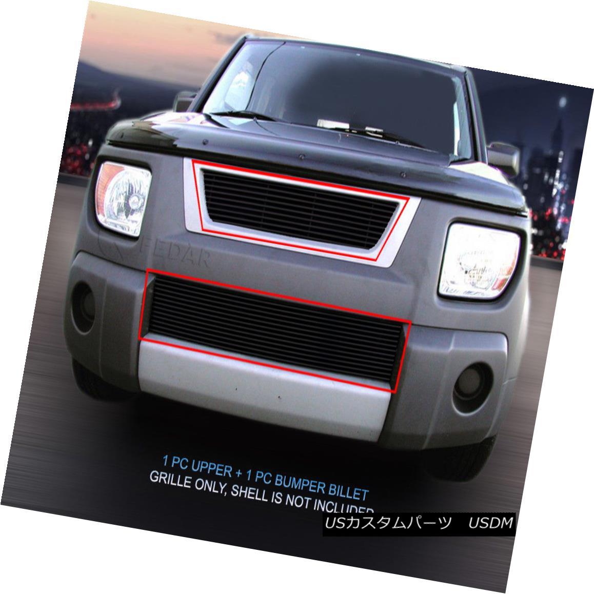 グリル Fits 03-06 Honda Element Black Billet Grille Grill Combo Insert フィット03-06ホンダエレメントブラックビレットグリルグリルコンボインサート