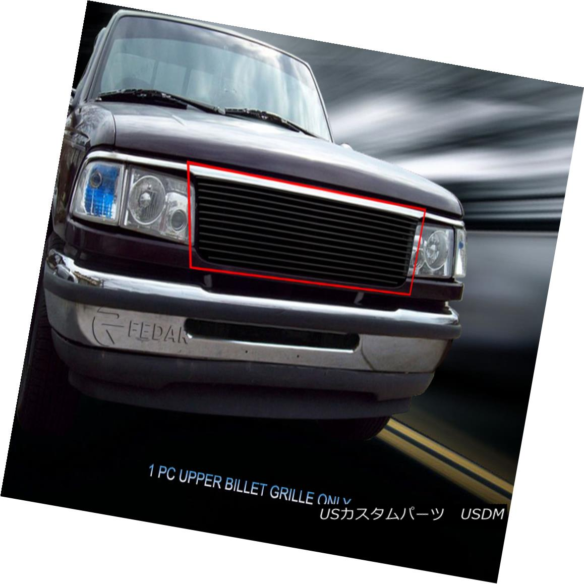 グリル Fits 1993-1997 Ford Ranger Black Billet Grille Upper Grill Insert Fedar フィット1993-1997フォードレンジャーブラックビレットグリルアッパーグリルインサートFedar