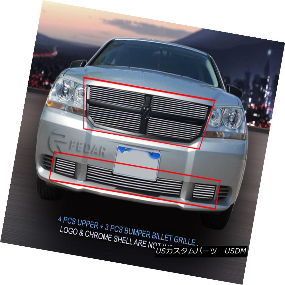 グリル For 2007-2010 Dodge Avenger SXT Billet Grille Grill Combo Insert 783 784 Fedar 2007-2010ドッジアヴェンジャーSXTビレットグリルグリルコンボインサート783 784 Fedar