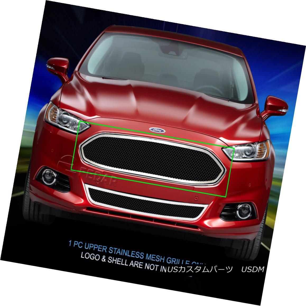 グリル Fedar Fits 2013-2015 Ford Fusion Black/Polished Overlay Wire Mesh Grille Insert Fedarは2013?2015 Ford Fusionフュージョンブラック/ポリッシュオーバレイワイヤーメッシュグリルインサート