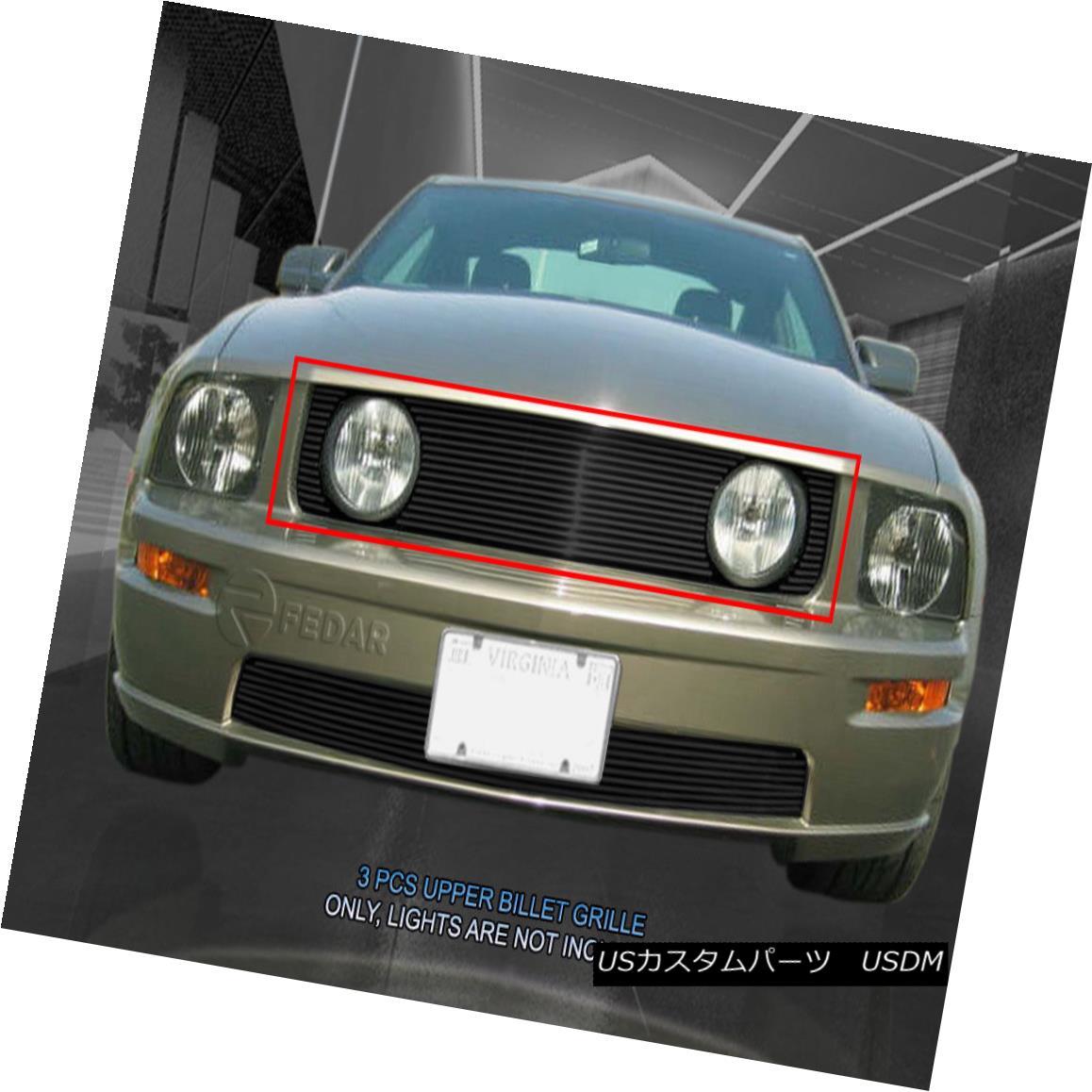 グリル 05-09 Ford Mustang GT V8 Billet Black Upper Grille Grill Insert  B183 Fedar 05-09フォードマスタングGT V8ビレットブラックアッパーグリルグリルインサートB183 Fedar