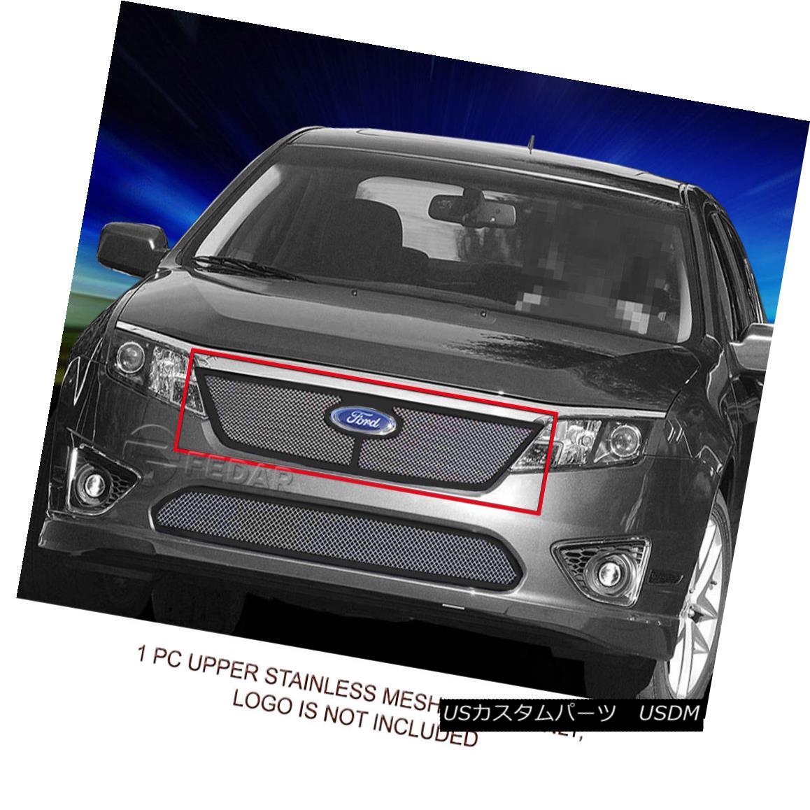 グリル Fedar Fits 10-12 Ford Fusion Polished Mesh Grille Insert フェルダは10-12フォードフュージョンポリッシュメッシュグリルインサートに適合
