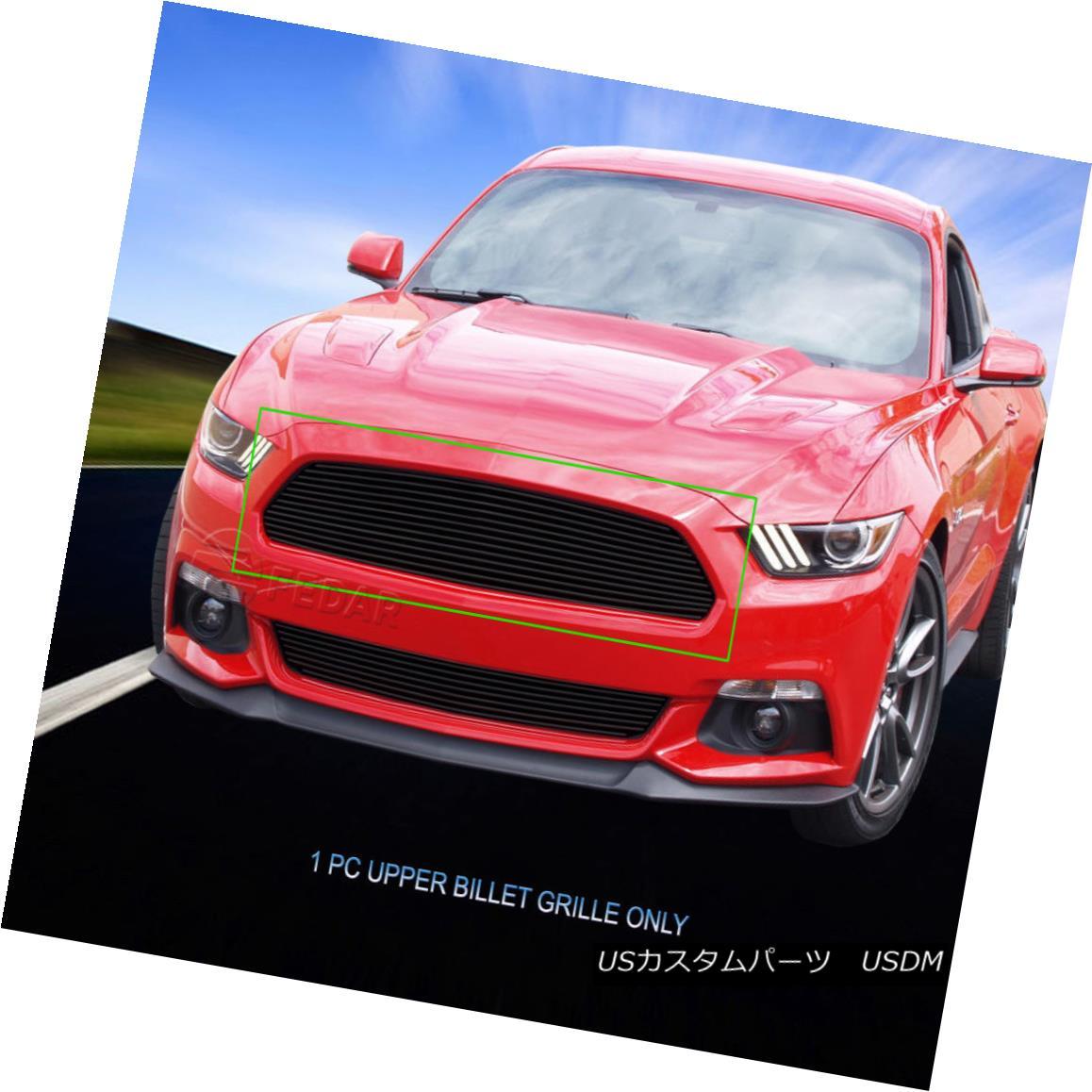 グリル Fedar Fits 2015-2016 Ford Mustang Black Overlay Main Upper Billet Grille Insert Fedarフィット2015-2016 Ford Mustangブラックオーバーレイメインアッパービレットグリルインサート