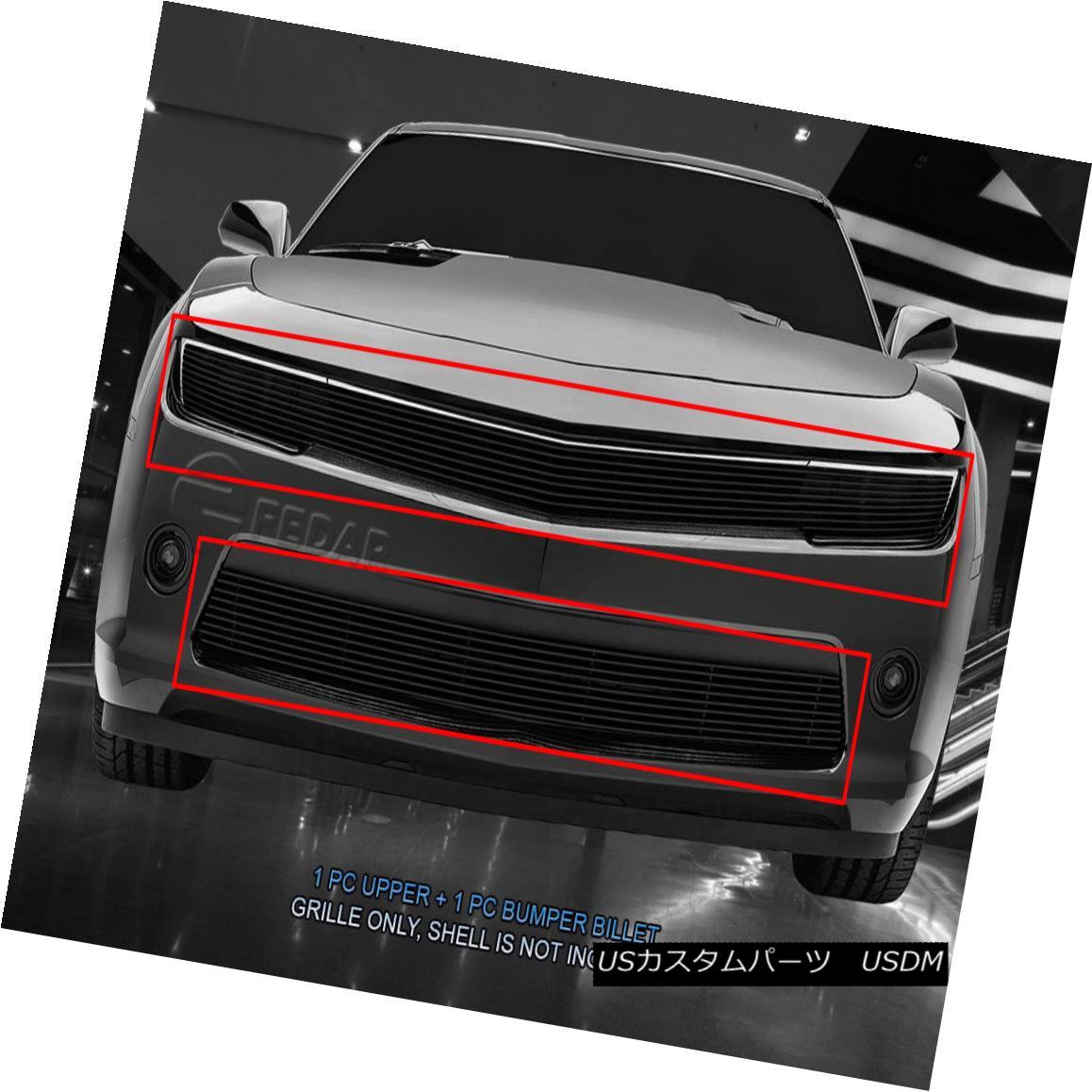 グリル Fedar Fits 2014-2015 Chevy Camaro RS Black Insert Billet Grille Combo Insert Fedarフィット2014-2015シボレーカマロRSブラックインサートビレットグリルコンボインサート