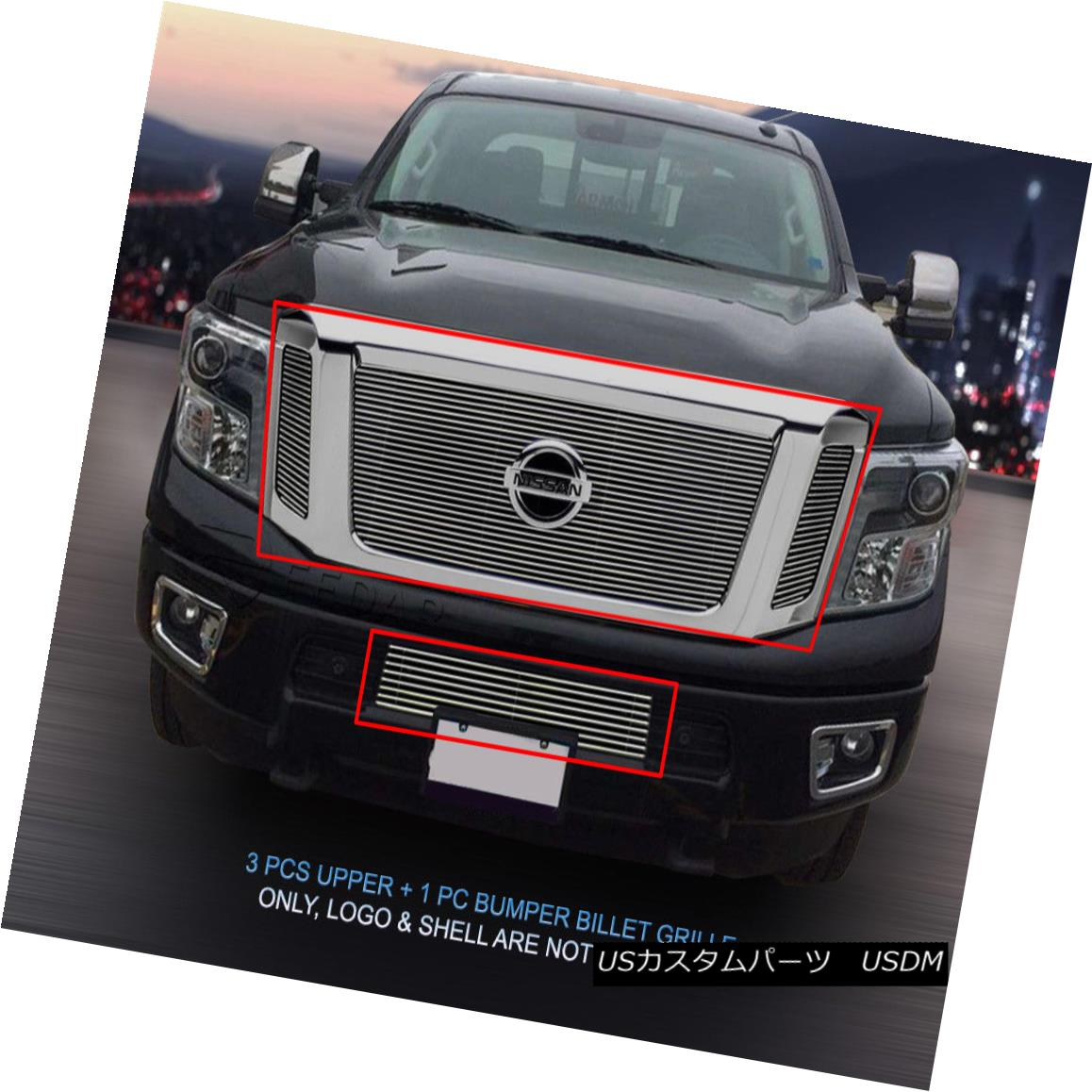 グリル Fedar Fits 2016 Nissan Titan Polished Billet Grille Insert Fedarフィット2016 Nissan Titan Polished Billet Grille Insert