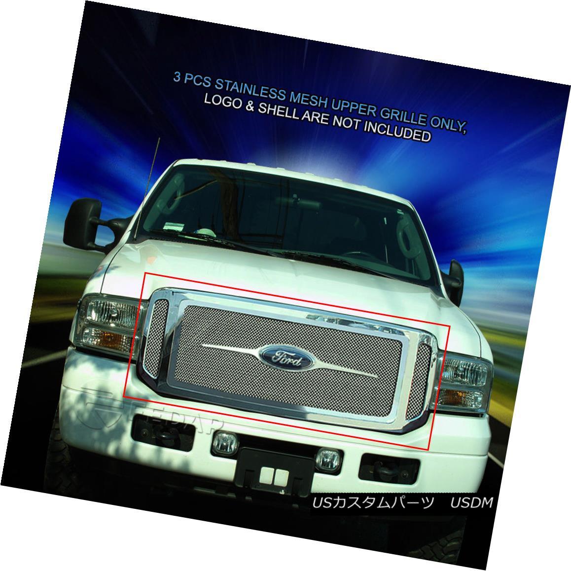 グリル Fedar Fits 05- 07 Ford F-250 F350 F450 F550 Stainless Steel Mesh Grille Combo フェルダーフィット05- 07 Ford F-250 F350 F450 F550ステンレスメッシュグリルコンボ
