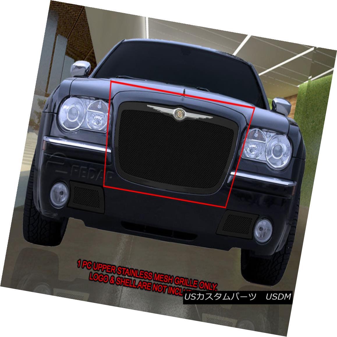 グリル 2005-2010 Chrysler 300/300C Black Stainless Steel Mesh Grille Upper Insert Fedar 2005-2010クライスラー300 / 300Cブラックステンレスメッシュグリルアッパーインサートフェルダー