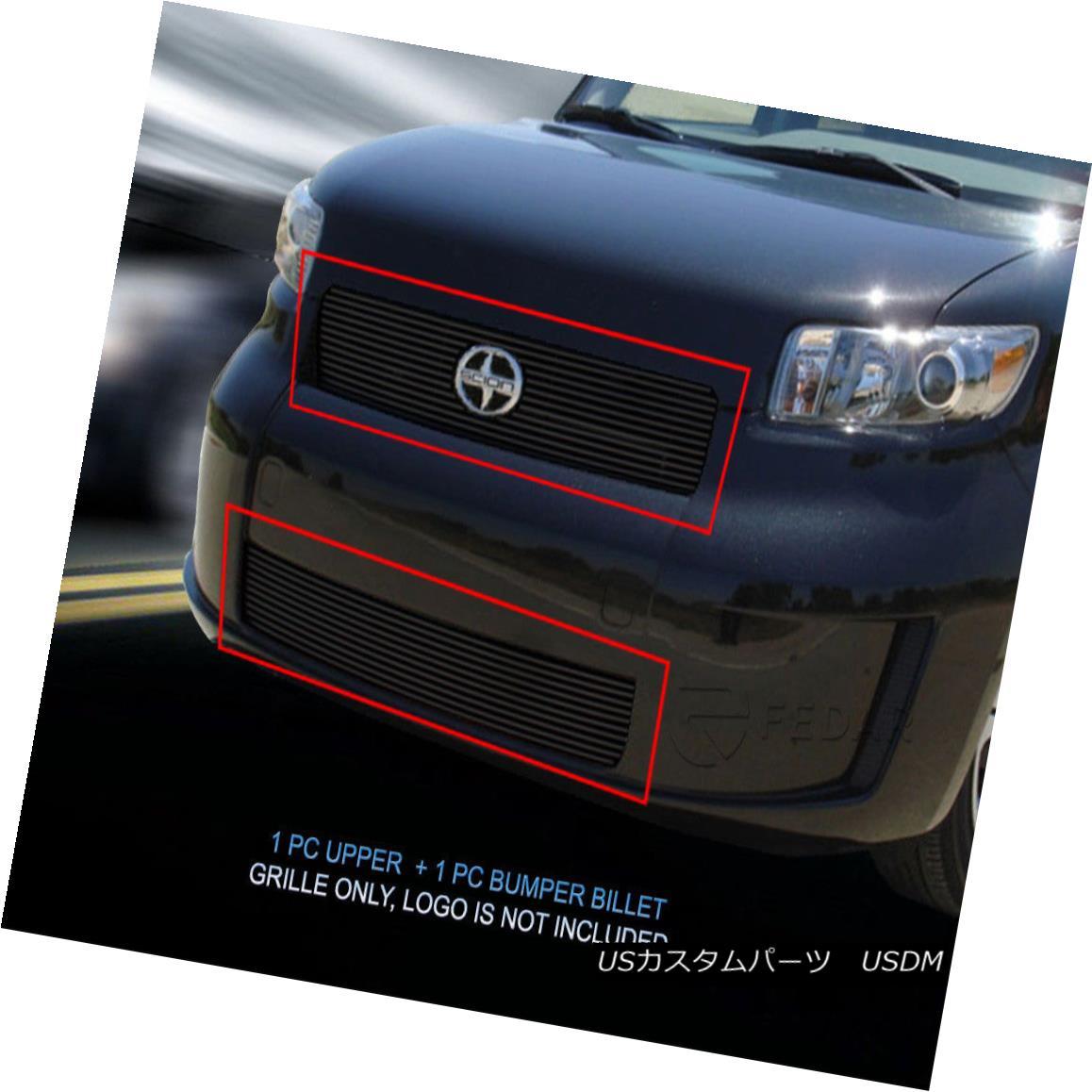 グリル Fits 2008-2010 Scion XB Black Bolt-On Billet Grille Combo Grill Insert Fedar フィット2008年?2010年シオンXBブラックボルトオンビレットグリルコンボグリルインサートFedar
