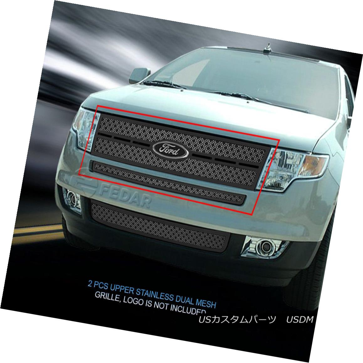 グリル Fedar Fits 2007-2010 Ford Edge Polished/Black Dual Weave Mesh Grille Insert Fedar Fits Edge Polished / Blackデュアルウィーブメッシュグリルインサート