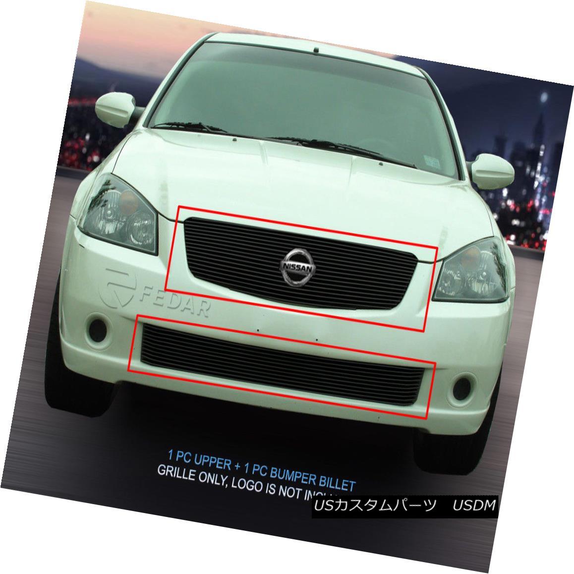 グリル Fedar Fits 2005-2006 Nissan Altima Black Billet Grille Combo Fedarフィット2005-2006日産アルティマブラックビレットグリルコンボ