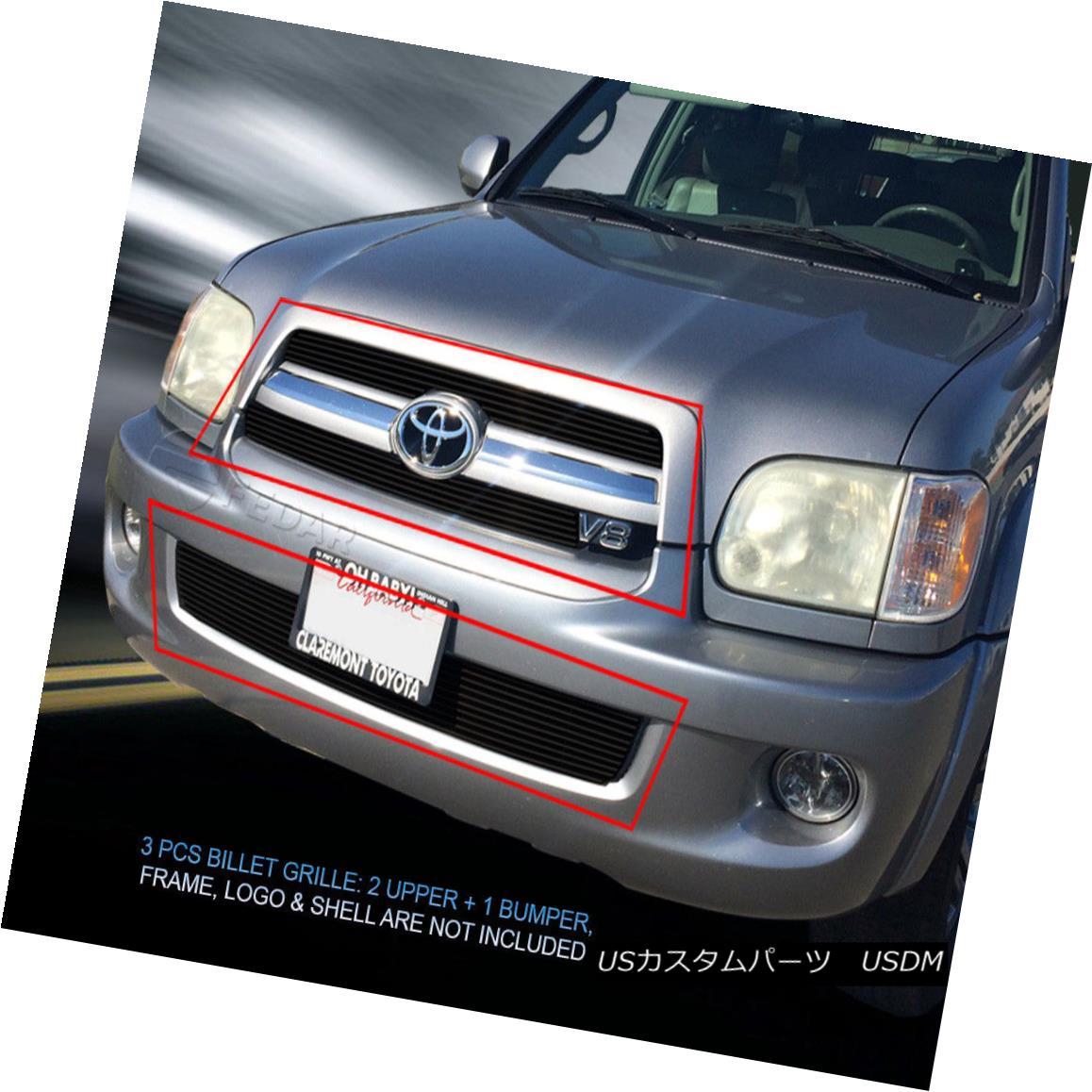 グリル 05-07 Toyota Sequoia Black Billet Grille Grill Combo Insert Fedar 05-07トヨタセコイアブラックビレットグリルグリルコンボインサートFedar