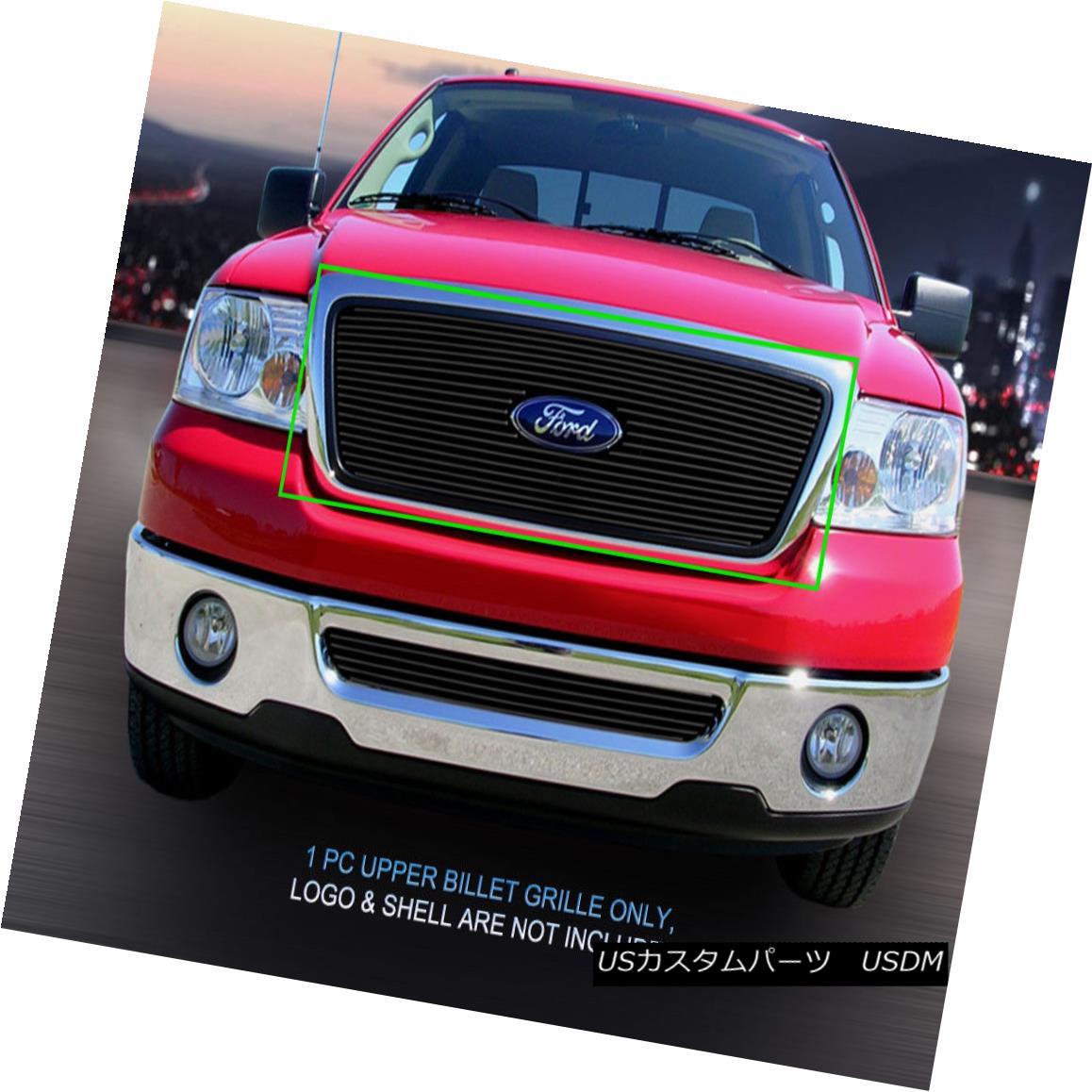 グリル Fedar Fits 2004-2008 Ford F-150 Black Main Upper Billet Grille Fedarは2004-2008年Ford F-150 Blackのメインアッパービレットグリルに適合