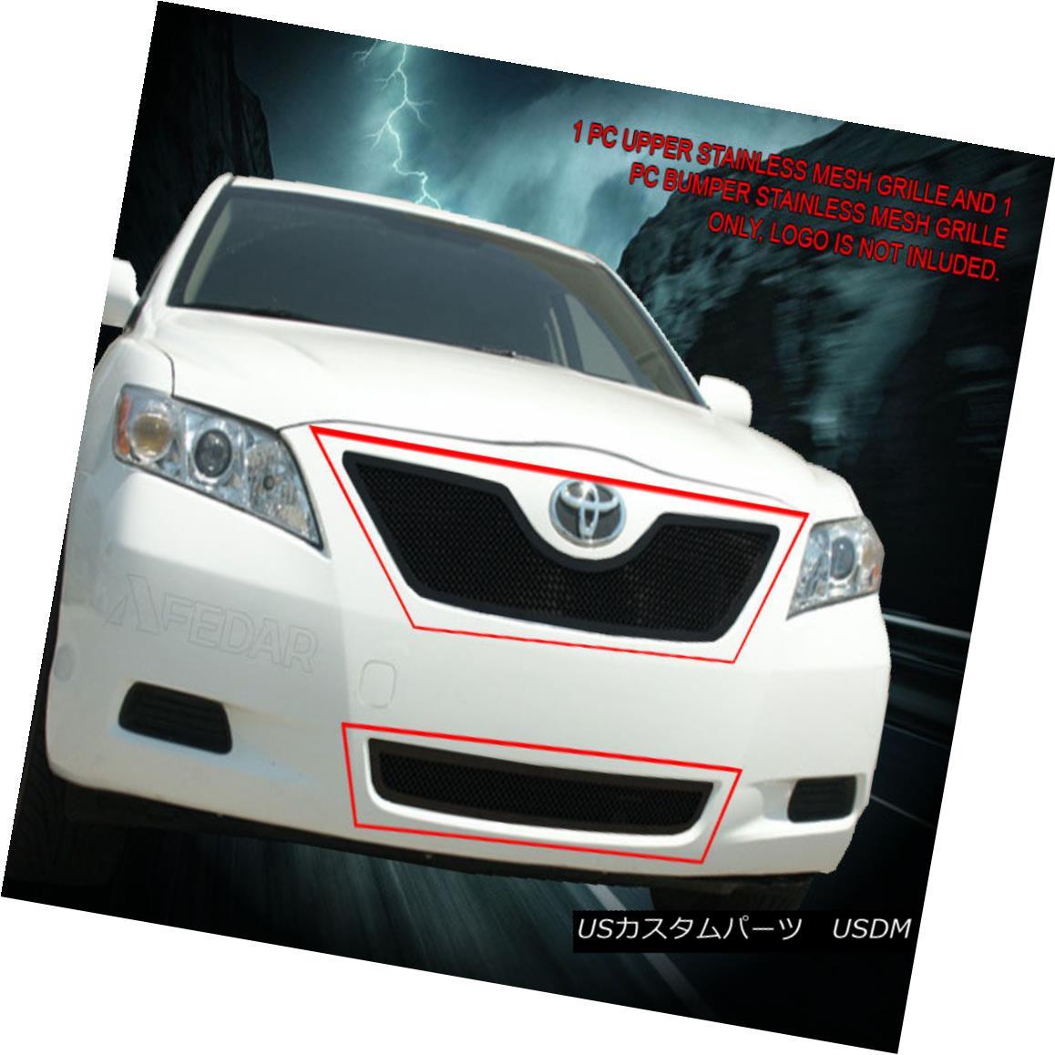グリル 07-09 Toyota Camry Black Stainless Mesh Grille Grill Combo Insert Fedar 07-09トヨタカムリブラックステンレスメッシュグリルグリルコンボインサートフェルダ