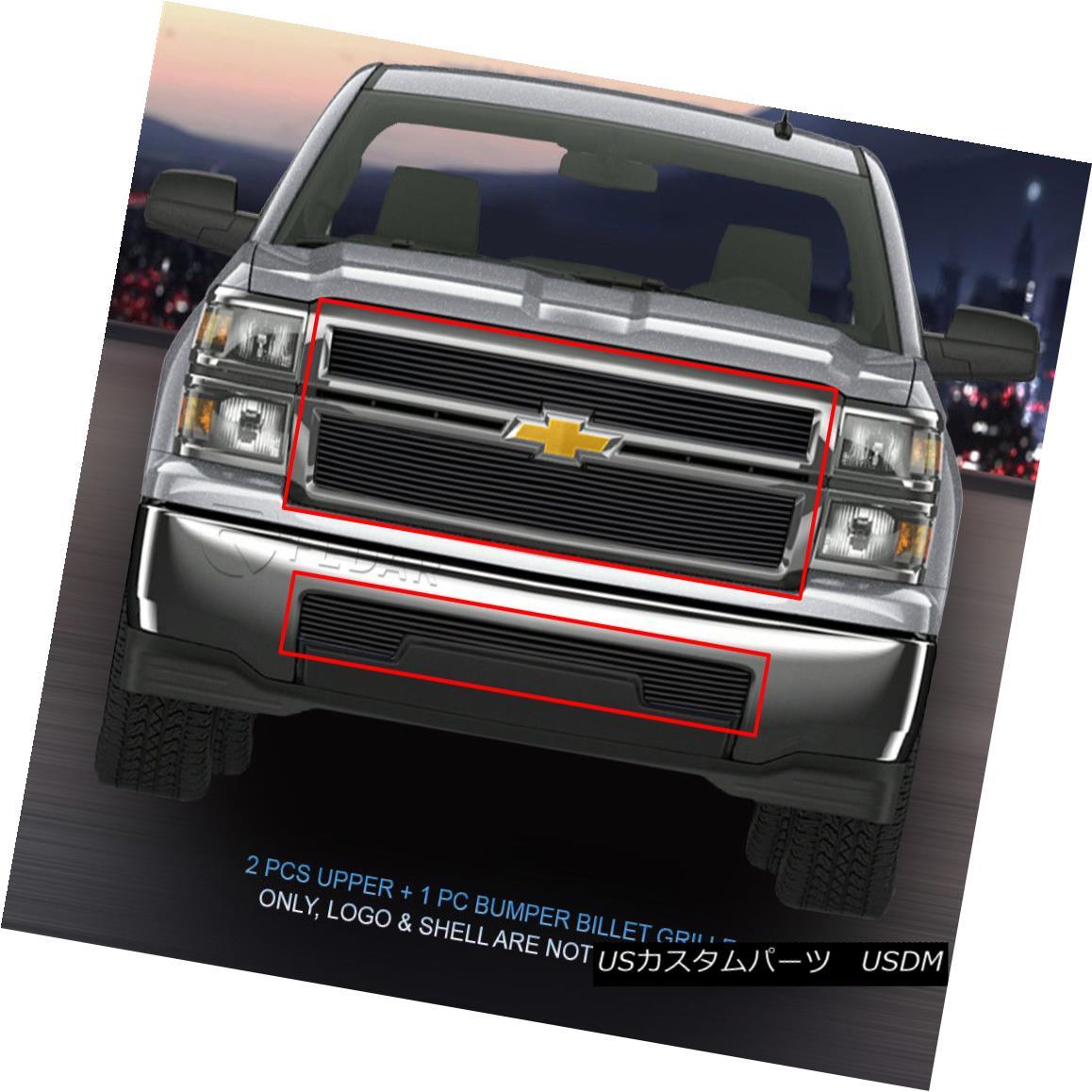 グリル 2014-2015 Chevy Silverado 1500 Black Billet Grille COMBO Grill Insert Fedar 2014-2015 Chevy Silverado 1500 Black Billet GrilleコンボグリルインサートFedar