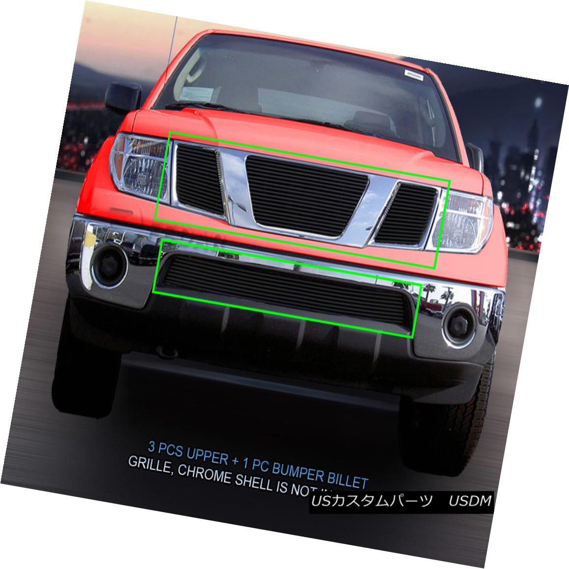 グリル Fits 05-08 Nissan Pathfinder Frontier Black Billet Grille Combo Insert Fedar フィット05-08日産パスファインダーフロンティアブラックビレットグリルコンボインサートFedar