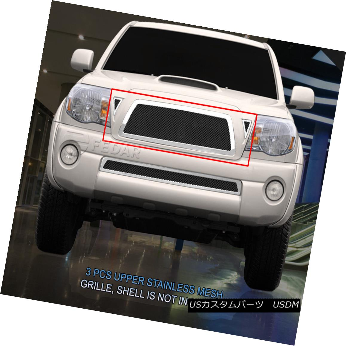 グリル Fedar Fits 2005-2010 Toyota Tacoma Black/Polished Wire Mesh Grille Combo Insert Fedarフィット2005-2010トヨタタコマブラック/ポリッシュワイヤーメッシュグリルコンボインサート