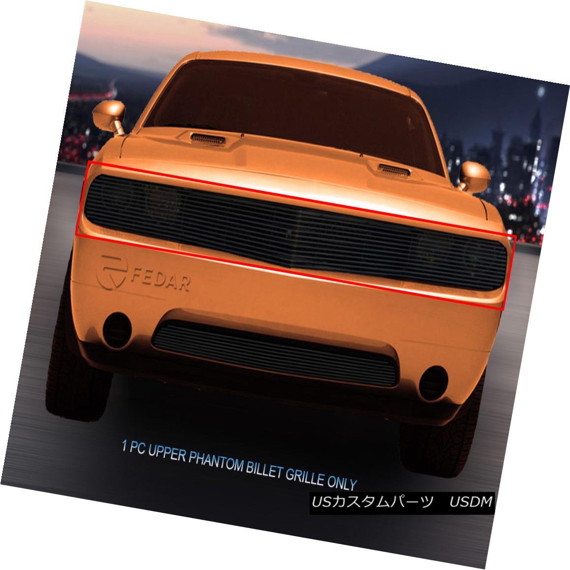 グリル Fits 2009-2014 Dodge Challenger Phantom Black Billet Grille Grill Insert Fedar フィット2009-2014ダッジチャレンジャーファントムブラックビレットグリルグリルインサートFedar