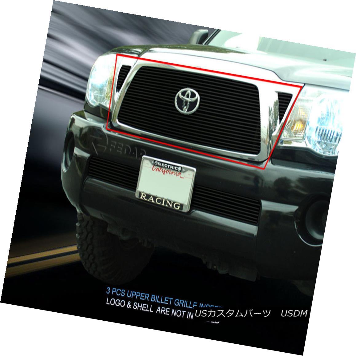 グリル Fedar Fits 2005-2010 Toyota Tacoma Black Overlay Billet Grille Combo Fedarフィット2005-2010トヨタタコマブラックオーバーレイビレットグリルコンボ